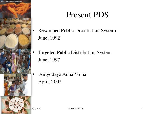 public distribution system Public distribution system (pds) is a national food security system established by the government of india under the ministry of food consumer affairs managed jointly with state governments in india.