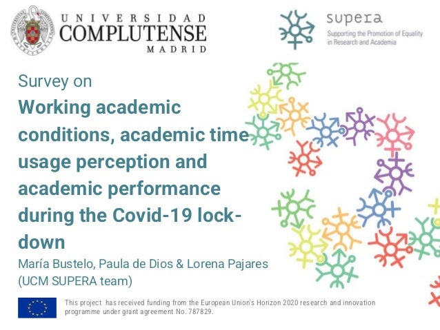 """Complutense University of Madrid - """"Survey on Working academic conditions, academic time usage perception and academic performance during the Covid-19 lockdown"""" Slide 2"""