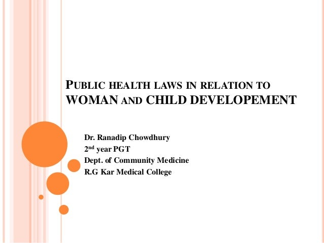PUBLIC HEALTH LAWS IN RELATION TOWOMAN AND CHILD DEVELOPEMENTDr. Ranadip Chowdhury2nd year PGTDept. of Community MedicineR...
