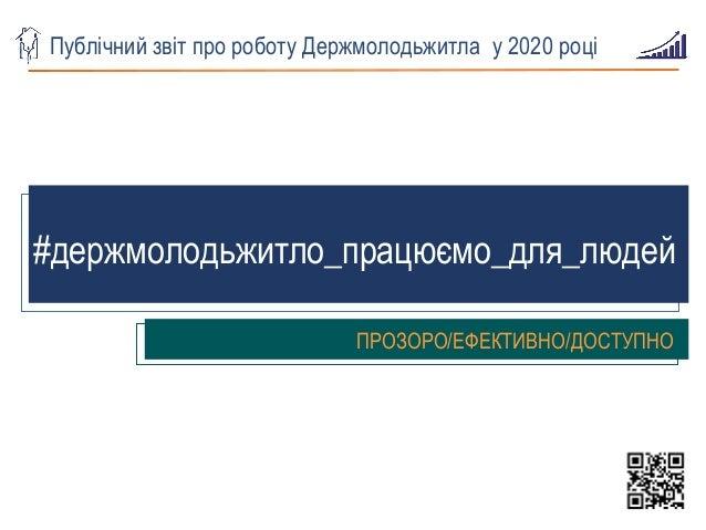 Публічний звіт про роботу Держмолодьжитла у 2020 році #держмолодьжитло_працюємо_для_людей ПРОЗОРО/ЕФЕКТИВНО/ДОСТУПНО