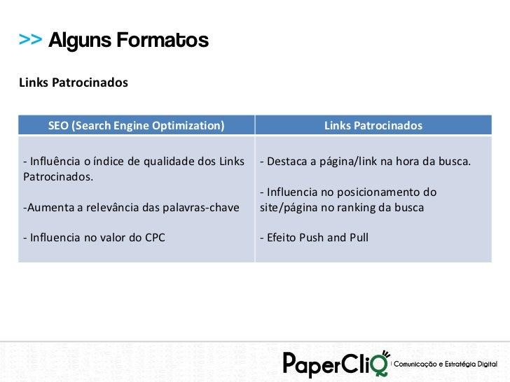 >> Alguns FormatosLinks Patrocinados    SEO (Search Engine Optimization)                        Links Patrocinados- Influê...