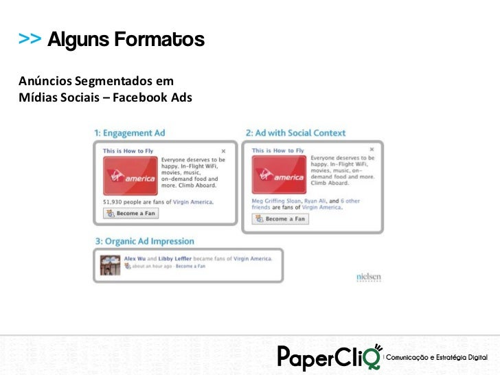 >> Alguns FormatosAnúncios Segmentados emMídias Sociais – Facebook Ads