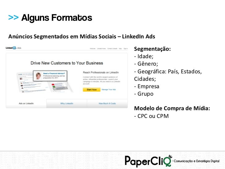 >> Alguns FormatosAnúncios Segmentados em Mídias Sociais – LinkedIn Ads                                             Segmen...