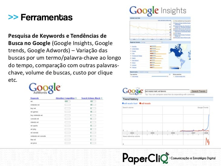>> FerramentasPesquisa de Keywords e Tendências deBusca no Google (Google Insights, Googletrends, Google Adwords) – Variaç...