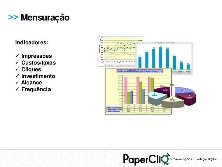 >> Mensuração Indicadores:  Impressões  Custos/taxas  Cliques  Investimento  Alcance  Frequência