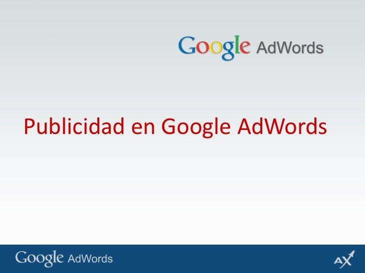 Publicidad en Google AdWords<br />