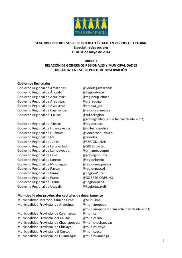 1 SEGUNDO REPORTE SOBRE PUBLICIDAD ESTATAL EN PERIODO ELECTORAL Especial: redes sociales 15 al 31 de mayo de 2014 Anexo 1 ...