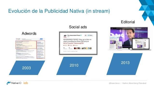 Adwords Social ads Editorial Evolución de la Publicidad Nativa (in stream) 2003 2010 2013 Native Advertising Standard@isan...