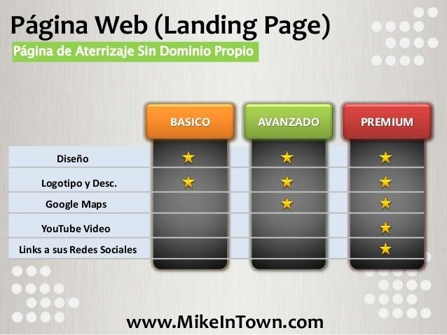 www.MikeInTown.com BASICO AVANZADO PREMIUM Diseño Logotipo y Desc. Google Maps YouTube Video Página Web (Landing Page) Pág...
