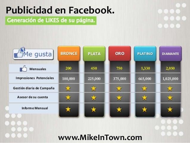 www.MikeInTown.com Publicidad en Facebook. Generación de LIKES de su página. BRONCE Mensuales Impresiones Potenciales Gest...