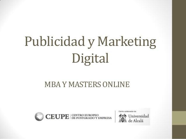 MBA Y MASTERSONLINE Publicidad y Marketing Digital