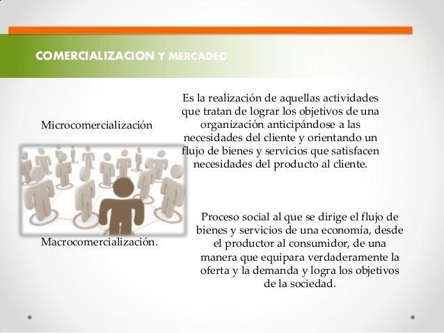 COMERCIALIZACION Y MERCADEO Microcomercialización Es la realización de aquellas actividades que tratan de lograr los objet...