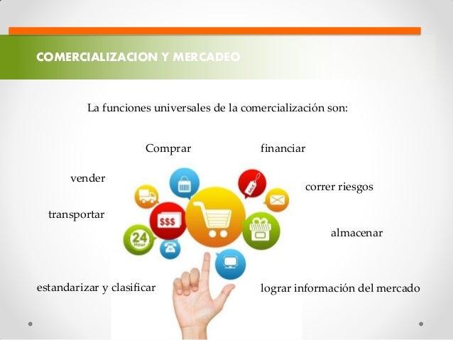 COMERCIALIZACION Y MERCADEO La funciones universales de la comercialización son: Comprar transportar almacenar estandariza...