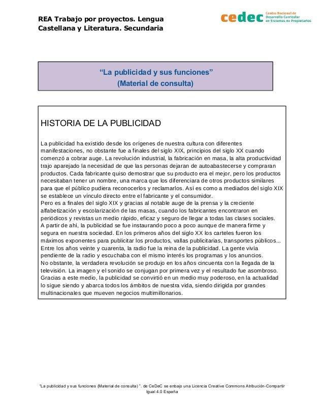 """REA Trabajo por proyectos. Lengua Castellana y Literatura. Secundaria """"La publicidad y sus funciones"""" (Material de consult..."""