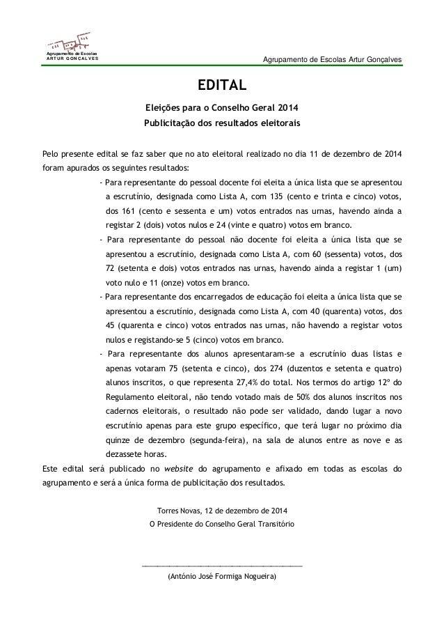Agrupamento de Escolas Artur Gonçalves  Agrupamento de Escolas  ARTUR GONÇALVES  EDITAL  Eleições para o Conselho Geral 20...