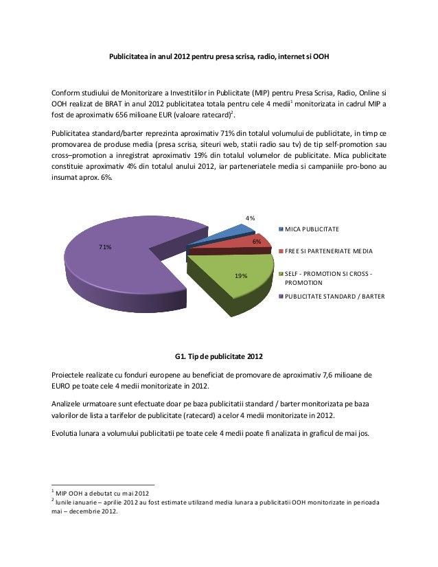 Publicitatea in anul 2012 pentru presa scrisa, radio, internet si OOHConform studiului de Monitorizare a Investitiilor in ...