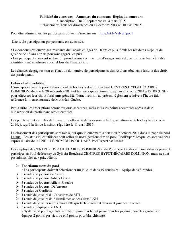 Publicité du concours – Annonces du concours- Règles du concours: • inscription: Du 20 septembre au 4 mars 2015 • classeme...