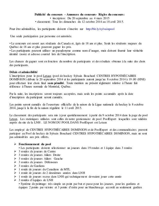 Publicité du concours – Annonces du concours- Règles du concours:  • inscription: Du 20 septembre au 4 mars 2015  • classe...
