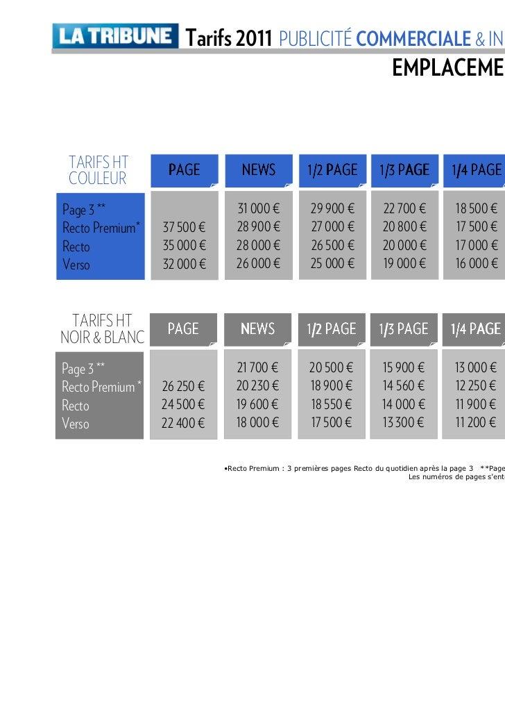 Tarifs 2011 PUBLICITÉ COMMERCIALE & INDUSTRIE FINANCIÈRE                                               EMPLACEMENTS CLASSI...