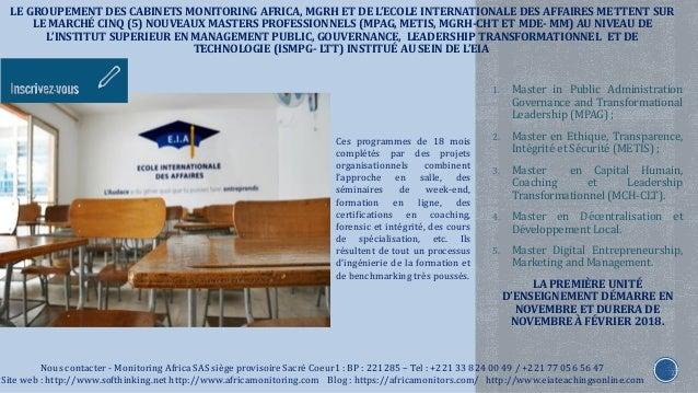 LE GROUPEMENT DES CABINETS MONITORING AFRICA, MGRH ET DE L'ECOLE INTERNATIONALE DES AFFAIRES METTENT SUR LE MARCHÉ CINQ (5...