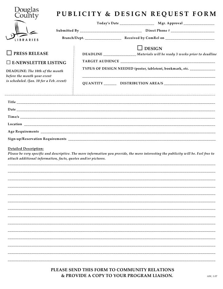 Publicity Design Request Form