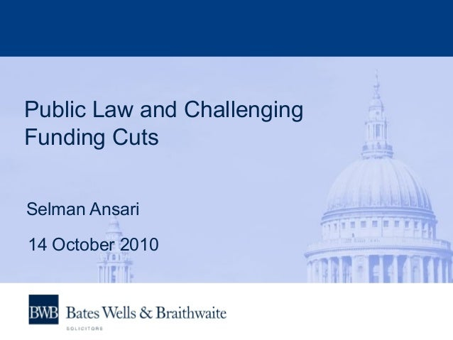 Public Law and Challenging Funding Cuts Selman Ansari 14 October 2010