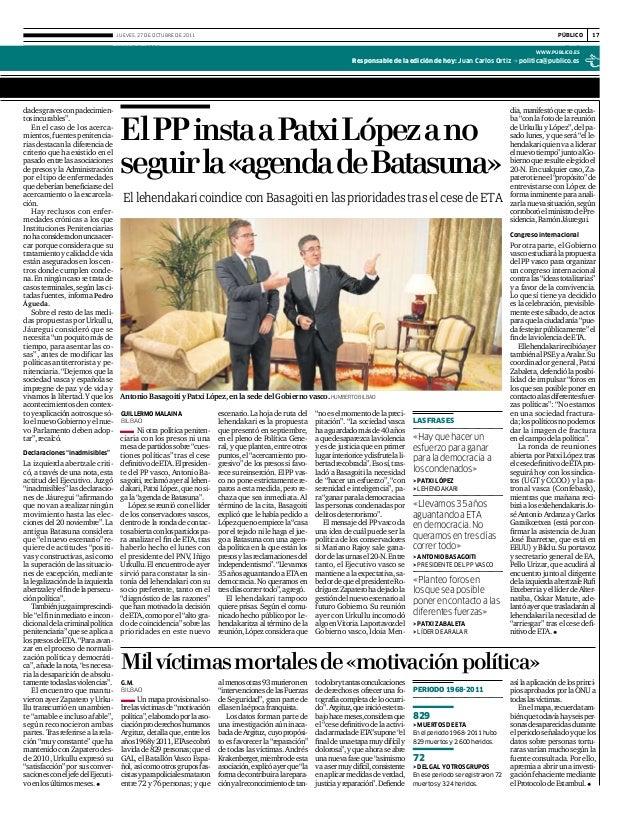 """www.publico.es públicoJueves, 27 de octubre de 2011 17 Política dadesgravesconpadecimien- tosincurables"""". En el caso de lo..."""