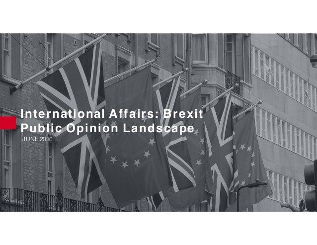 International Affairs: Brexit Public Opinion Landscape JUNE 2016
