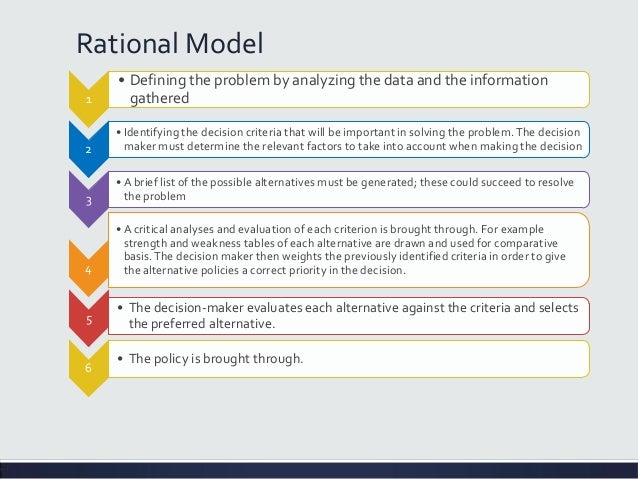 Rational model of policy making