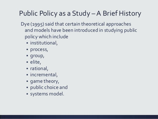 elite model in public policy The policy process theory just described is a good model to describe public policymaking another explanatory theory is the elite current public policy.