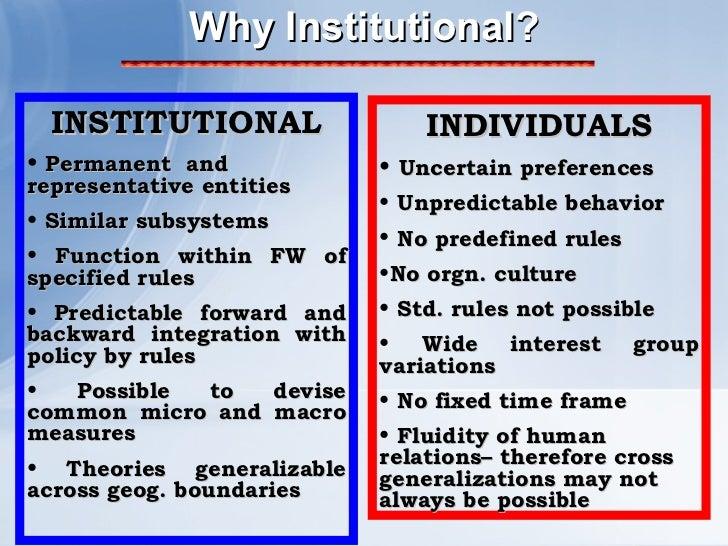 Why Institutional? <ul><li>INSTITUTIONAL </li></ul><ul><li>Permanent  and representative entities </li></ul><ul><li>Simila...