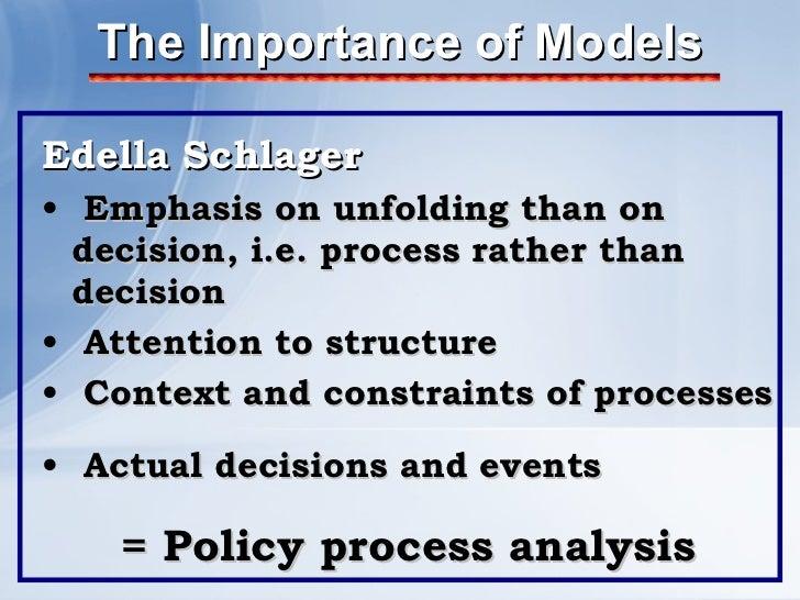 The Importance of Models <ul><li>Edella Schlager </li></ul><ul><li>Emphasis on unfolding than on decision, i.e. process ra...
