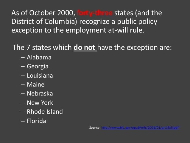 The employment-at-will doctrine: three major exceptions.