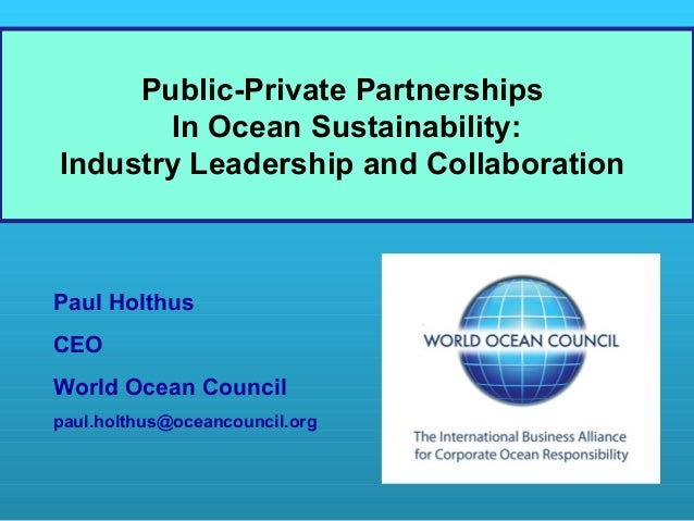 Public-Private Partnerships In Ocean Sustainability ...