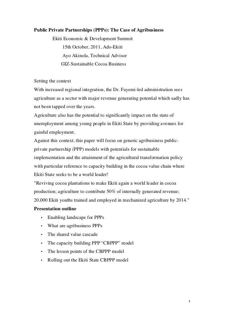 Public Private Partnerships (PPPs): The Case of Agribusiness             Ekiti Economic & Development Summit              ...
