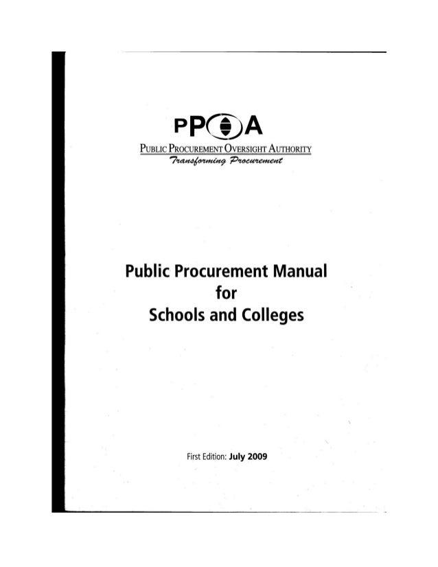 Public procurement manual for schools & colleges - Kenya