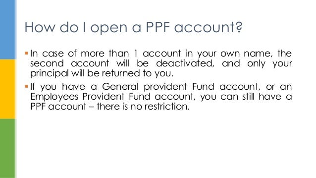 Public provident fund - Post office joint account ...