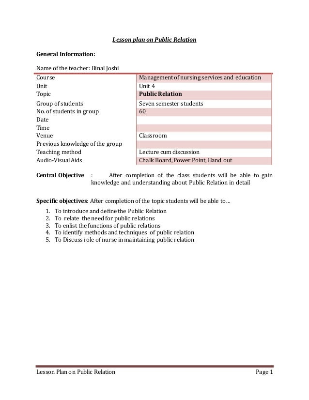 Lesson Plan on Public Relation Page 1 Lesson plan on Public Relation General Information: Name of the teacher: Binal Joshi...
