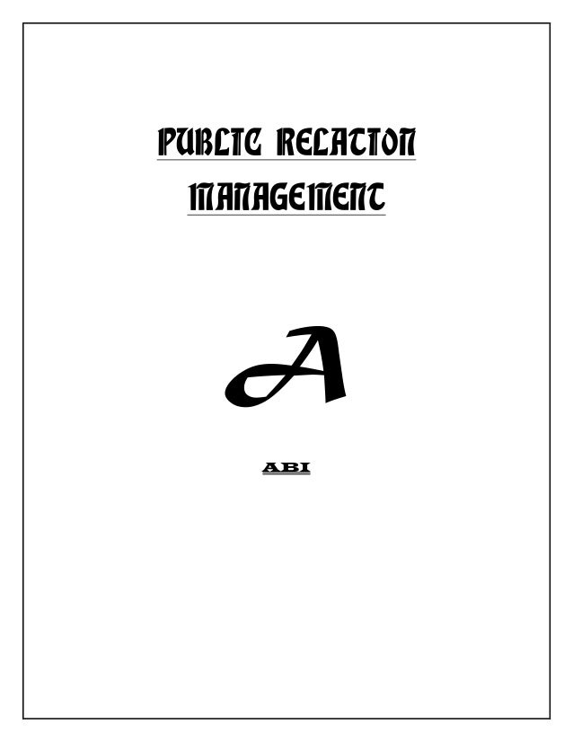PUBLIC RELATION MANAGEMENT A ABI