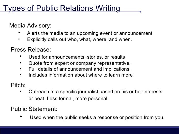 Varieties of writing What is public relations writing