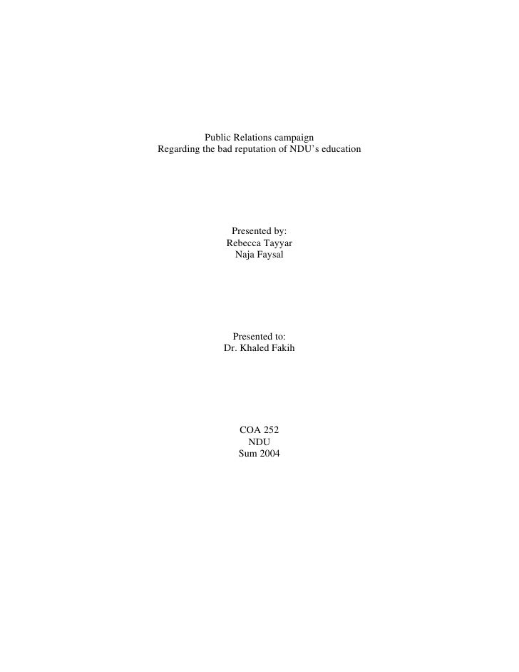 Term Paper on Public Relations