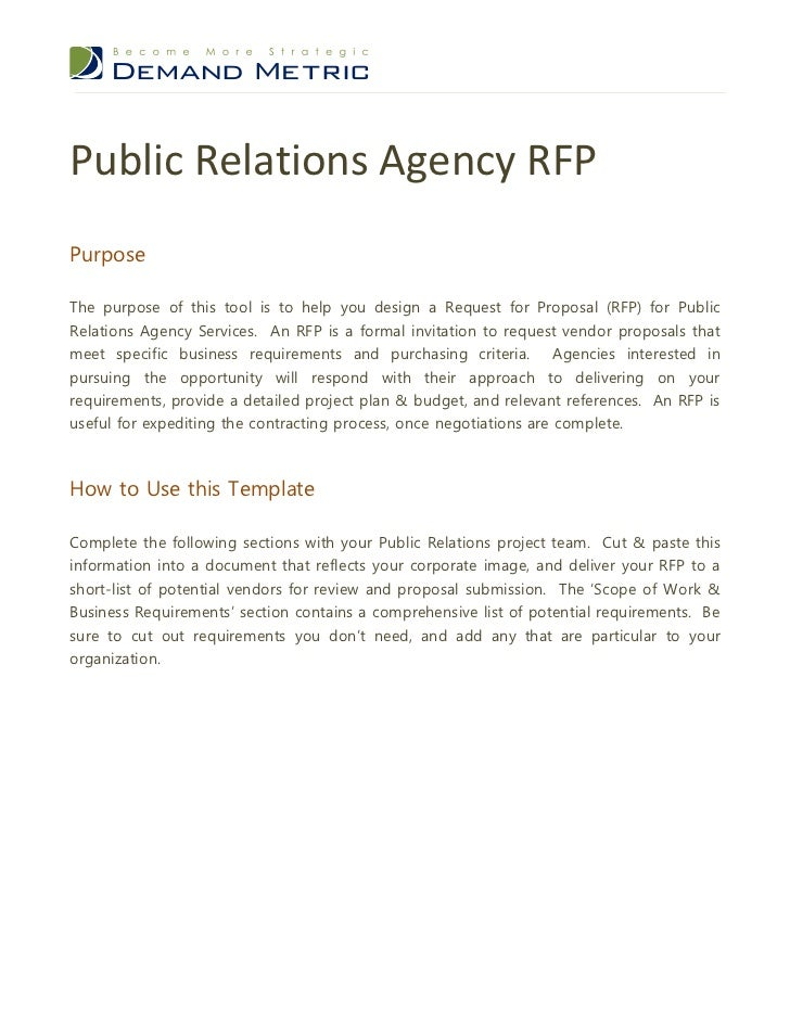 Public relations agency rfp for Public relations agreement template