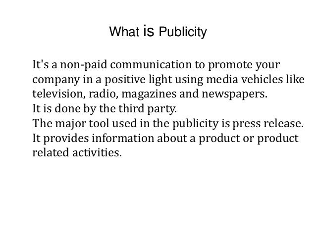 public relations and publicity with examples