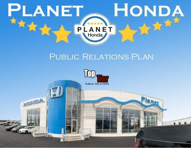 Planet Honda Public Relations Plan