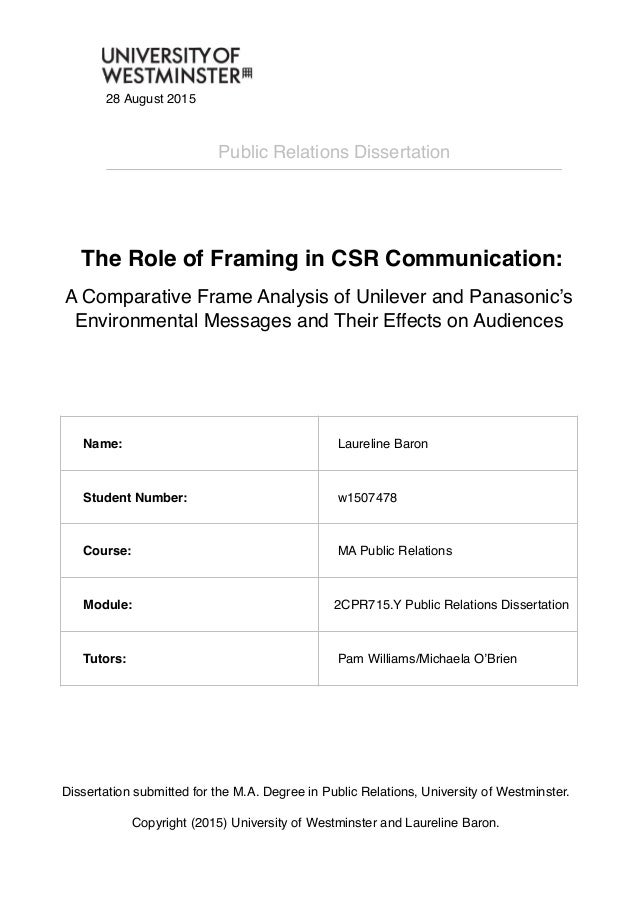 The Role Of Framing In Csr Communication