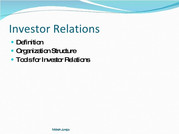 Public Relations Management Session 6 Investor Relations
