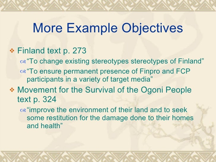... 6. More Example Objectives ...  Examples Of Objectives
