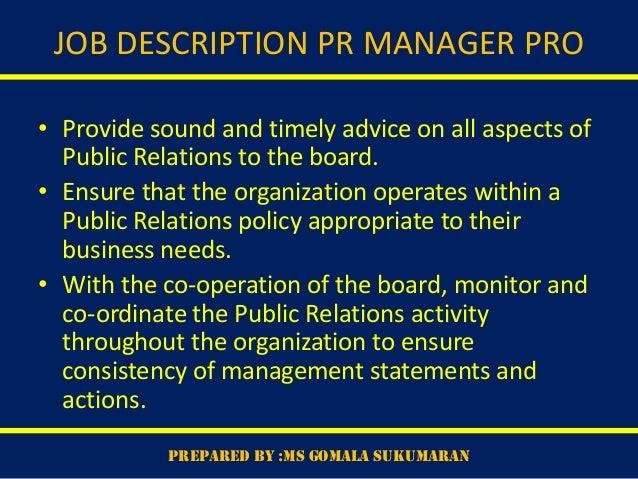 Public relations organisation – Public Relations Job Description