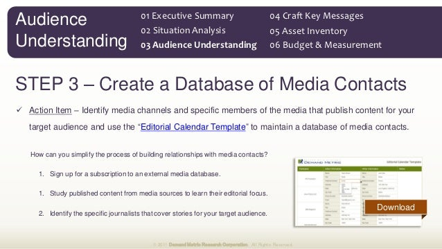 Public Relations Plan Methodology ToolKit - Public relations calendar template
