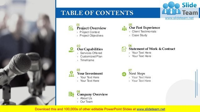 TABLE OF CONTENTS 3 Project Overview › Project Context › Project Objectives 01 Our Capabilities › Services Offered › Custo...